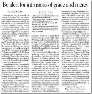 Intrusions of Grace, 19 Nov 2011, Edmonton Journal(sm)