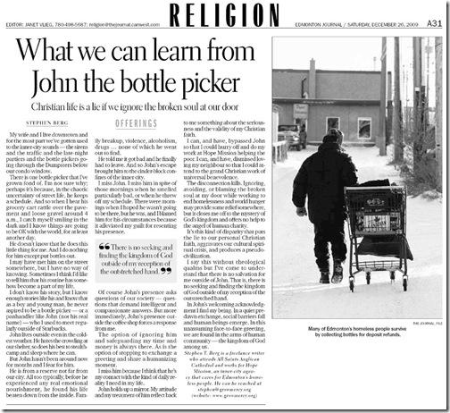 John picks bottles EdJournal Dec 26 '09web