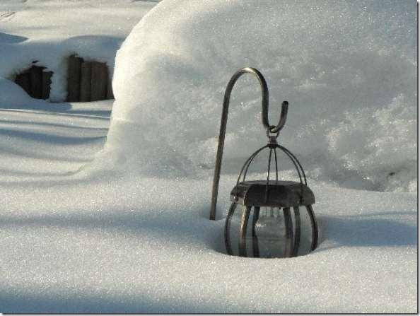 lantern in snow
